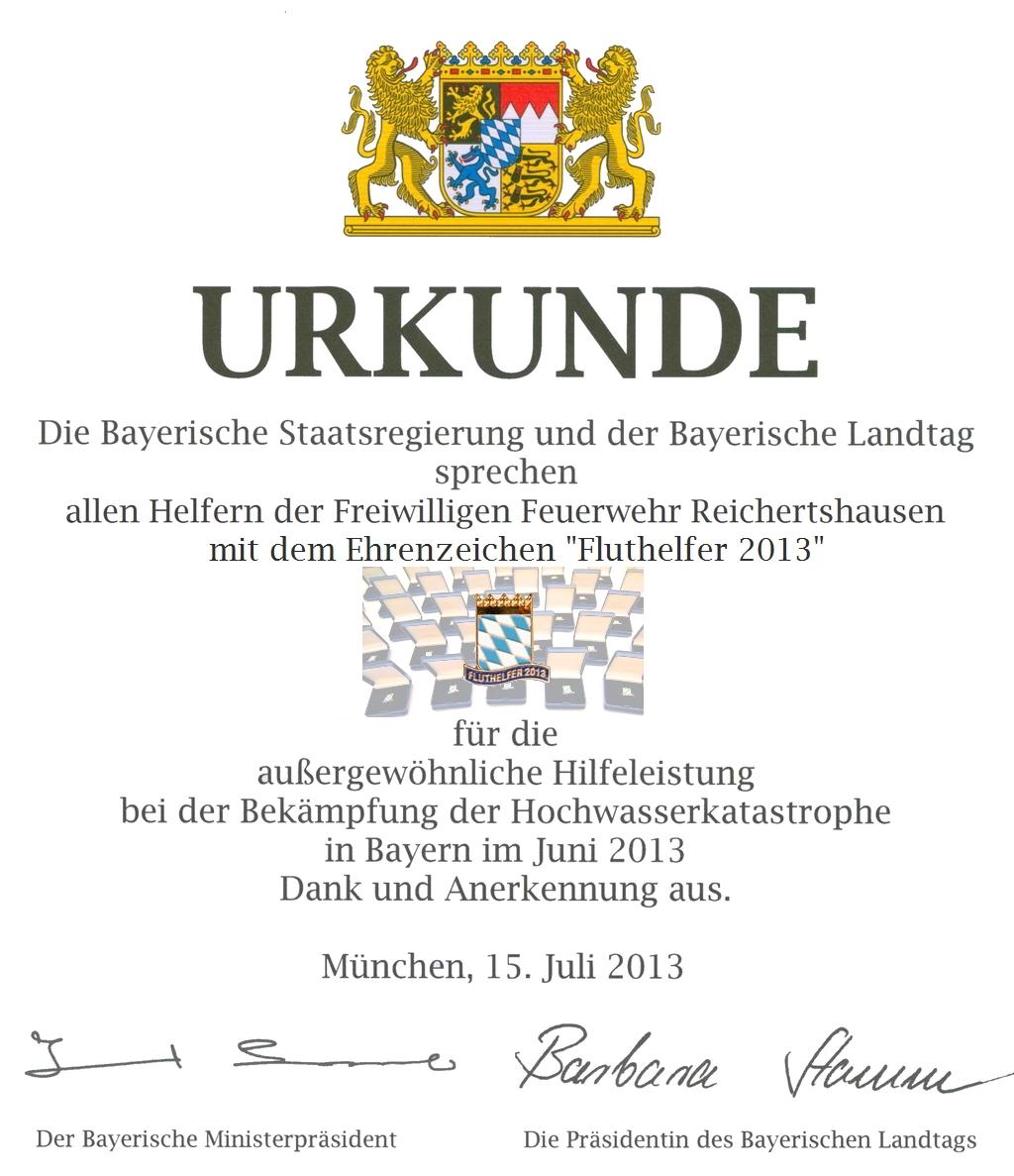 Urkunde Anerkennung und Dank