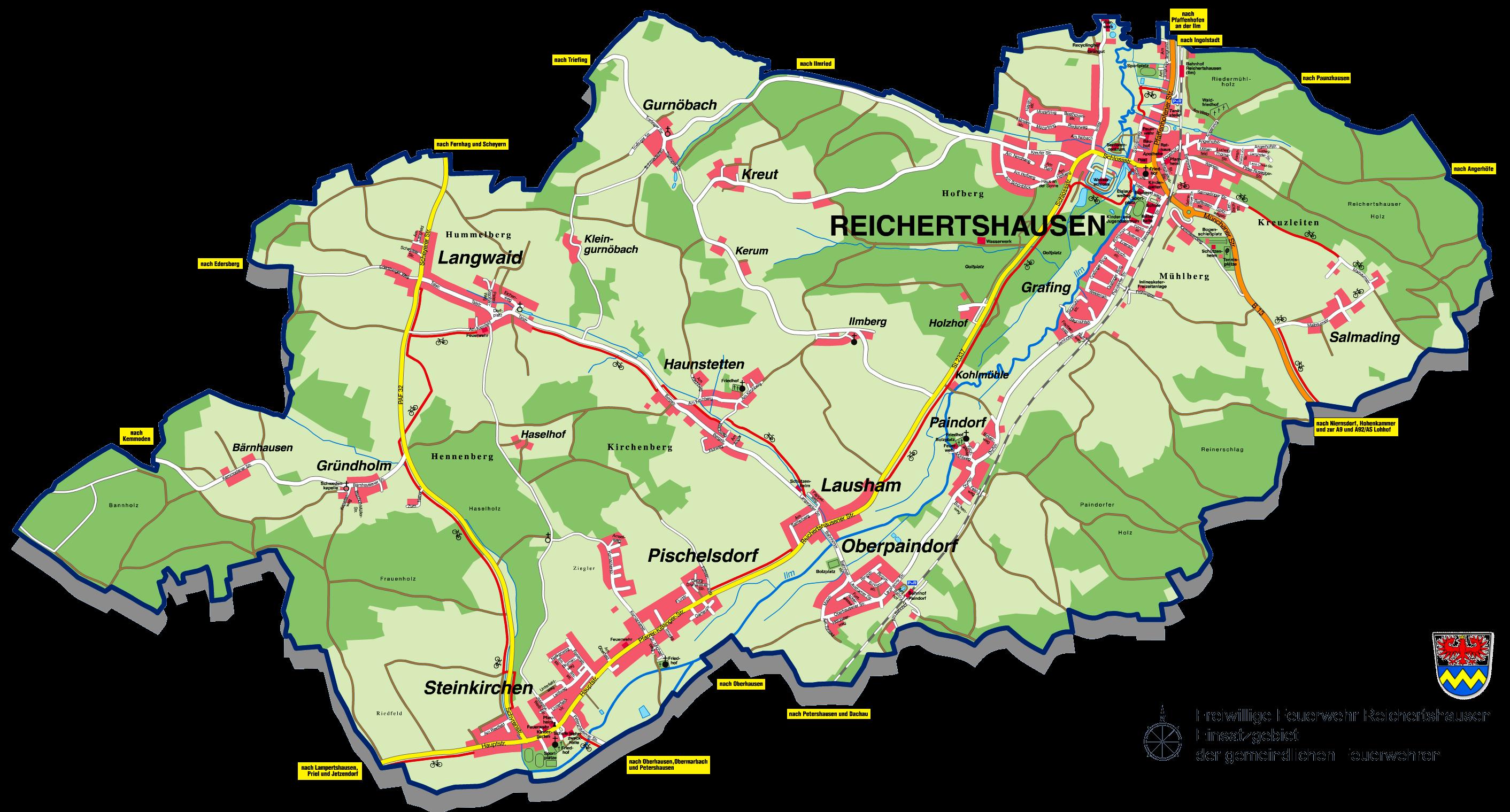 Das Einsatzgebiet der gemeindlichen Feuerwehren in Reichertshausen